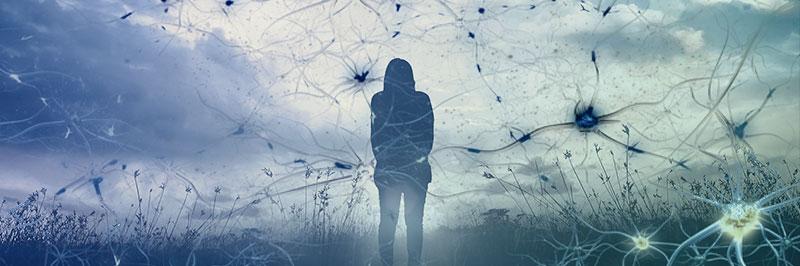 Femme coincée dans toile d'araignée neuronale (symbolique pour illustrer une surcharge autistique)