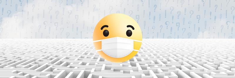 Émoji surpris portant un masque avec un arrière plan de labyrinthe et de points d'interrogations